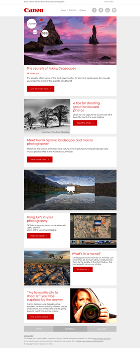 Canon Europe emailing